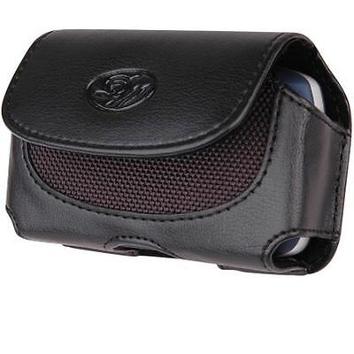 New Black Horizontal Leather Holster Pouch Case with Belt Clip for Cell Phones