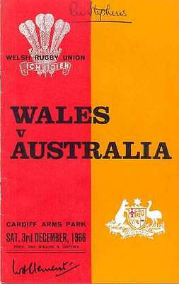 WALES v AUSTRALIA 3 Dec 1966 SIGNED RUGBY PROGRAMME BARRY JOHN DEBUT 12 AUTOS