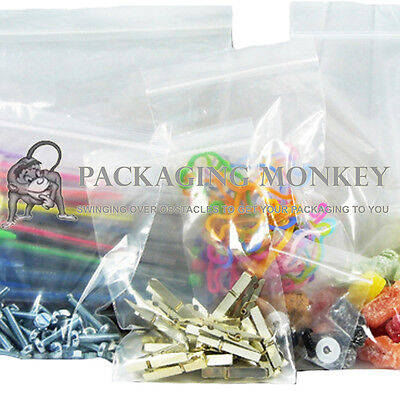STRONG GRIP SEAL CLEAR POLY PLASTIC RESEALABLE BAGS *ALL SIZES / QTY's*