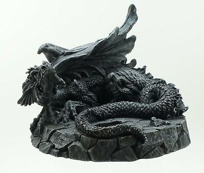 "Small Baby Dragon Resting Tea Light Holder Fine Sculpture Home Decoration 6""L"