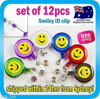 12x Smiley ID Clip Holder Recoil Keyring Retractable Belt Pull Chain for Pouch