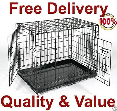 5 Size GoPetClub 2 Door Folding Dog Pet Cage Crate House with DIVIDER