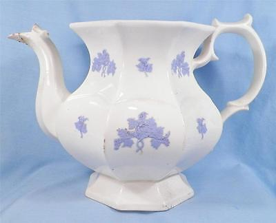Chelsea Blue Grape Teapot Tea Pot Antique Semi Porcelain Circa 1900 AS IS NO LID