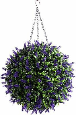 Large 40cm Best Artificial Purple Lush Lavender Long Leaf Topiary Grass Ball New