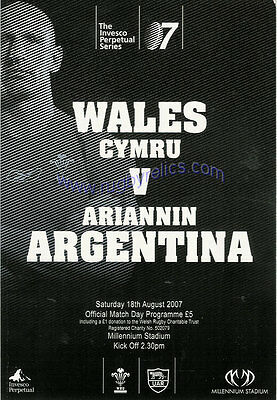 WALES v ARGENTINA 2007 RUGBY PROGRAMME 18 Aug at CARDIFF
