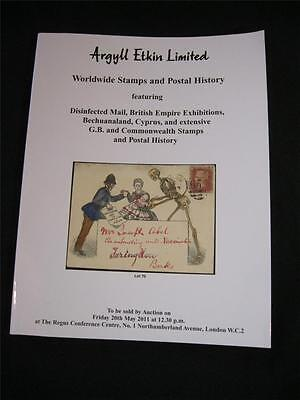 Argyll Etkin Auction Catalogue 2011 Disinfected Mail Bechuanaland Cyprus Gb Etc