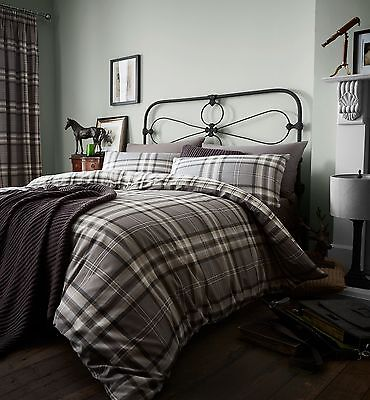 Kelso Tartan Duvet Quilt Cover Set, Reversible Single Double King Bedding
