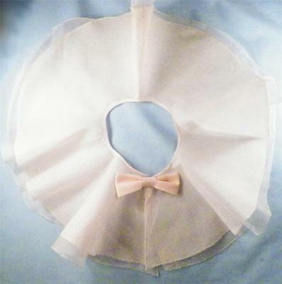 Vintage Collar Wide Pink Organdy 2 Layers Bow Accent Stripes Flared 1940s AS IS