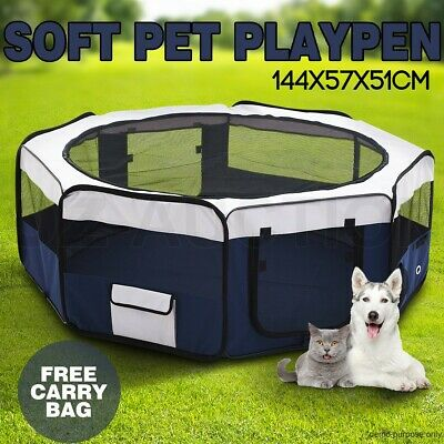 8 Pet Playpen Portable Soft Dog Puppy Cat Exercise Crate Travel Cage Tent Blue