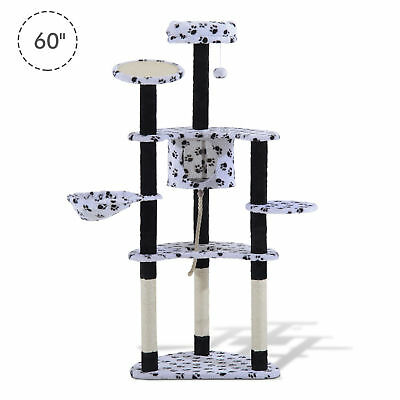 "60"" Cat Tree Scratching Scratcher Pet Condo Post Basket Multilevel Tower House"