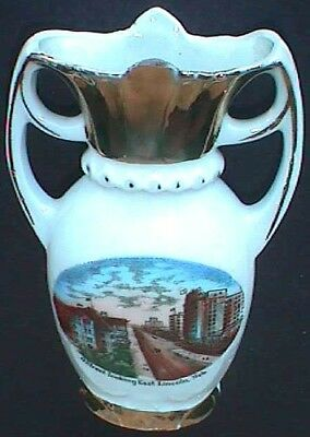 Antique LINCOLN NEBRASKA porcelain SOUVENIR VASE w/GREAT pic of OLD TOWN