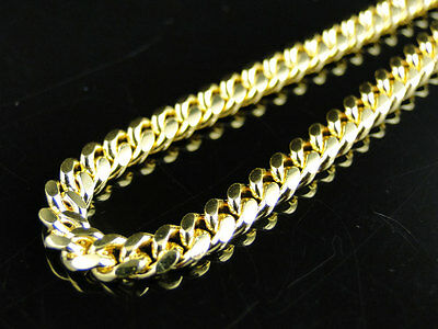 14k Yellow Gold Finish Solid Franco Miami Cuban Necklace Sterling Silver 4 mm