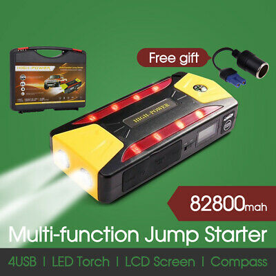82800mAh Power Bank Portable 4 USB Car Jump Starter Pack Booster Battery Charger