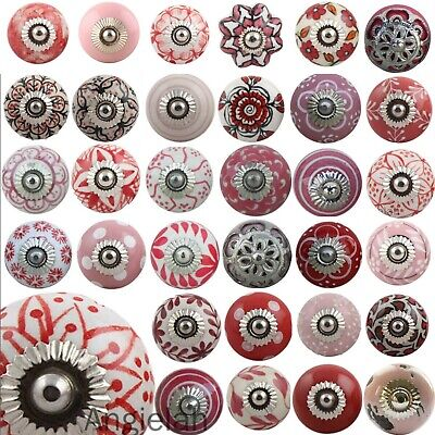 Pink Red Ceramic Door Knobs MIX & MATCH Retro Vintage Shabby Chic Drawer Upcycle