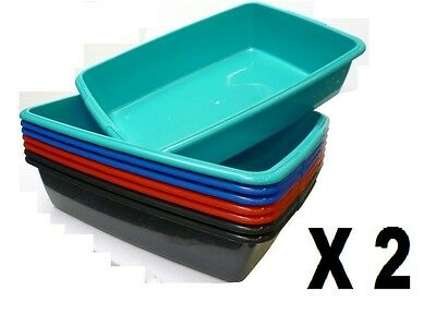 Plastic Cat Litter Tray 2 X Cat Kitten Dog Set Of Two Trays Medium