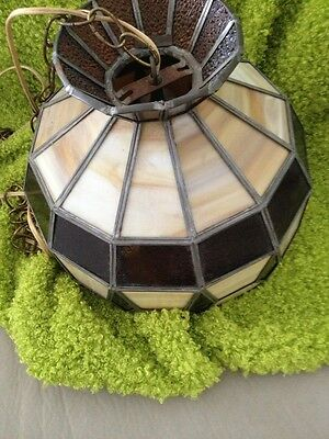 Mid Century Slag And Lead Glass Hanging Bistro Light Beautiful When Lit