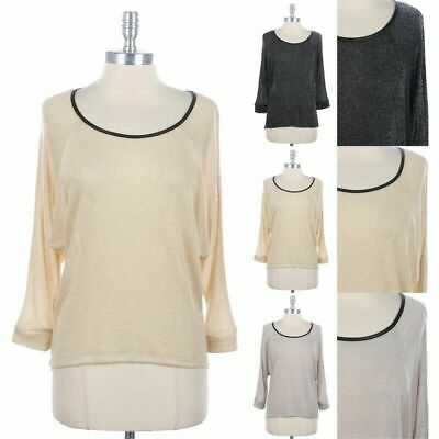 Metallic Knit High Low Hem Top with Faux Leather Binding Accent Stylish S M L