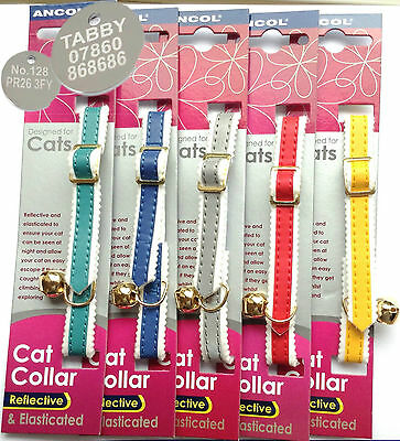 Ancol Reflective Cat Collars, With or Without Engraved Pet ID Tag, Tags