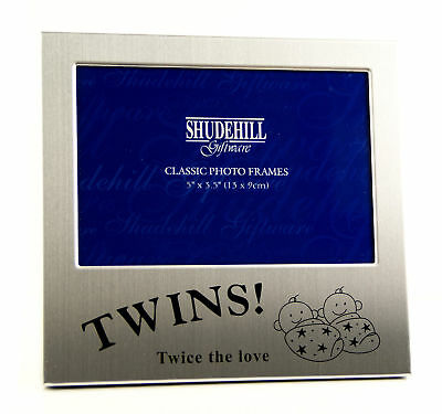 "Twins Photo Frame Photograph Picture Gift Portrait 5x3.5""  In Box 73475"