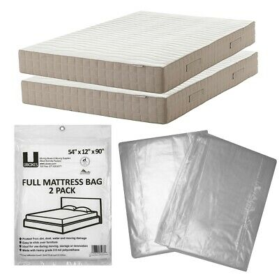 """Full Size Mattress Bag 54x12x90"""" (2 Pack) Protective Moving Storage"""