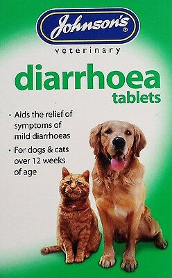 DOG Diarrhoea Tablets JOHNSONS for Dogs & Cats over 12 Weeks Old 12 Tablet Pack