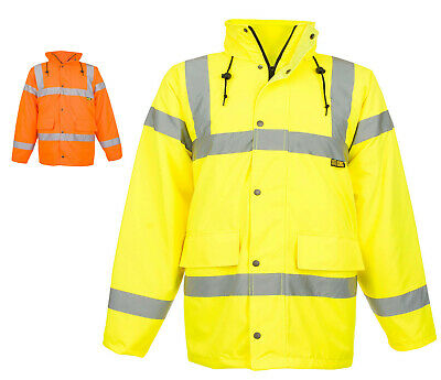 Mens Hi Vis Work Traffic Jacket Yellow or Orange HIGH VISIBILITY COAT - W2360