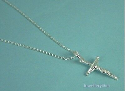 "925 Silver Small TINY CRUCIFIX CROSS PENDANT 16"" Chain Necklace B'Day GIFT BOX N"