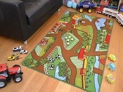 Machine Washable Non-Slip Kids Childrens Farmyard Farm Play Theme Floor Rug Mat