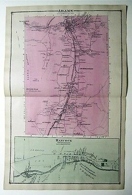 Orig 1876 Color  Beers Atlas Map Adams & Hancock MA plus Florida & Hoosac Tunnel