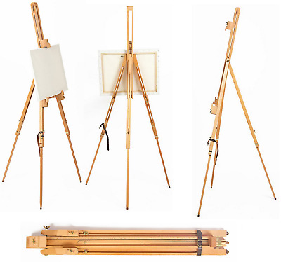2 x ARTIST TRIPOD EASEL 6ft WOODEN ADJUSTABLE PAINTING STUDIO DISPLAY FIELD B42