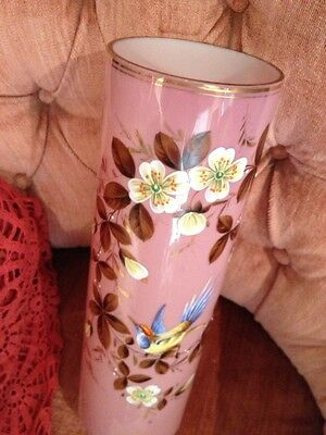 Antique Very Old Stunning Hand Painted Floral Bird Cased Pink Glass  Awesome
