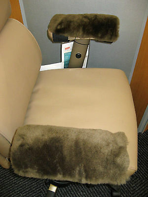 Brown Merino Sheepskin Arm Rest Covers Pads Office Chair Arms Scooter Wheelchair