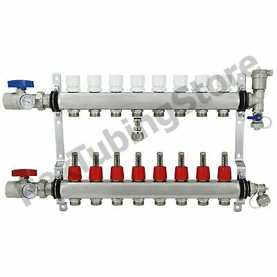 "8-Branch PEX Radiant Floor Heating Manifold Set - Stainless Steel, for 1/2"" PEX"