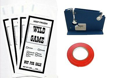 Wild Game Ground Meat Packing Kit- Tape Machine, Tape, 200 1Lb Bags Sib Supply
