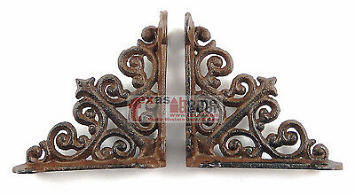 2 Small Shelf Brackets Fleur De Lis Cast Iron Brace Antique Style Scrolls 4 x 4""