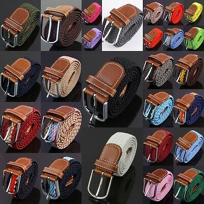 Mens Leather Braided Web Elastic Stretch Cross Buckle Casual Golf Belt Waistband