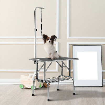 Dog Grooming Table Pet Stainless Steel With Adjustable Arm Basket New