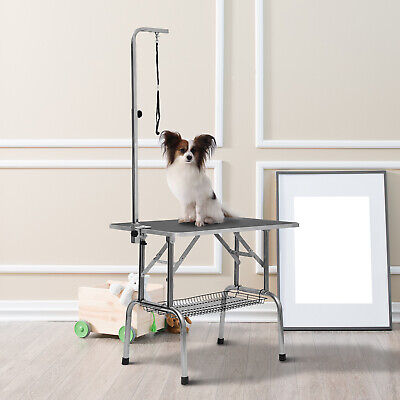 """PawHut 36"""" Stainless Steel Dog Grooming Table W/ Adjustable Arm Basket Foldable"""