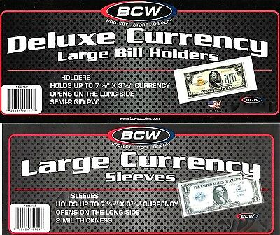 10 Deluxe Large Currency Holder Semi Rigid  Bill Holders Plus 10 Large Sleeves