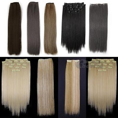 "8 Pcs 15"" Straight Full Head Clip In On Synthetic Hair Weft Extensions"