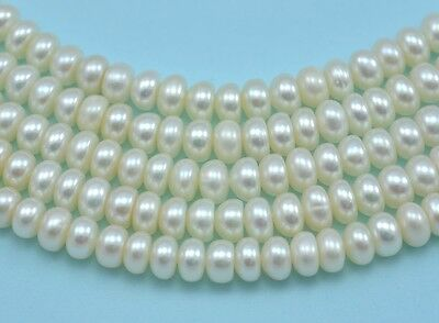 5-6mm Ivory White Rondelle Button Freshwater Pearls  Beads A