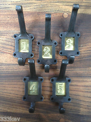 5 X Cast Iron School Coat Hooks With Brass Number Inserts ~ Vintage Style ~