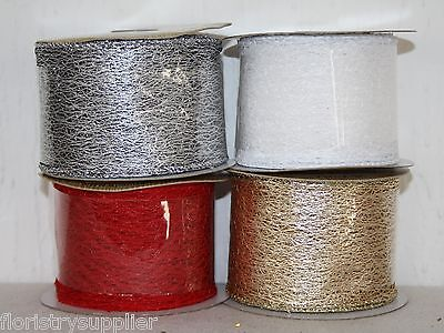 luxury christmas ribbon METALLIC WEB gift wrapping bow making tree crafts wired