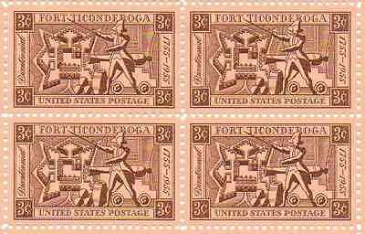 Fort Ticonderoga Bicentennial Set of 4 x 3 Cent US Postage Stamps NEW