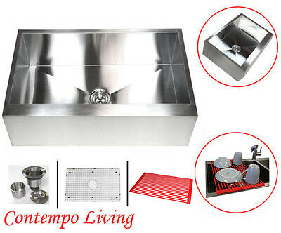 "30"" Stainless Steel Flat  Apron Kitchen Farm Sink Combo"