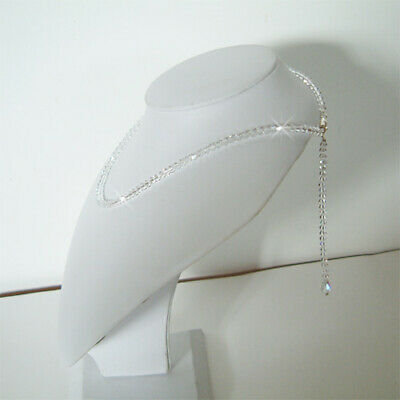 "~6"" BACK DROP made with Swarovski Crystal Lowcut Bridal Wedding Necklace Jewelry"