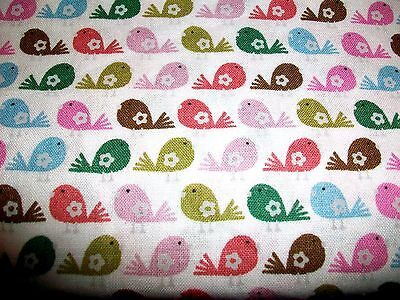 Rows Of Colorful Little Birds On White Cotton Quilt Fabric