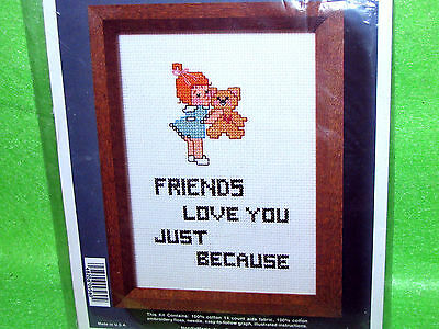 * JUST BECAUSE counted cross stitch kit FRIENDS LOVE YOU JUST BECAUSE 5x7