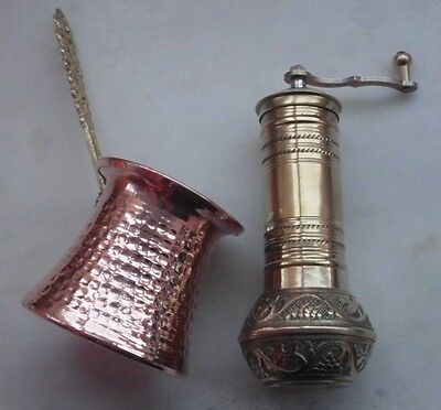 Turkish Coffee GRINDER Mill BRASS 6.3 inc and Coffee Maker CEZVE Traditional Set