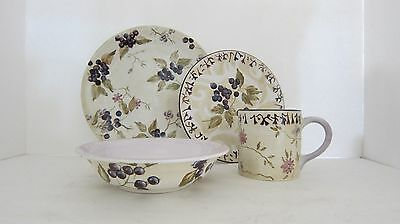 Tracy Porter 4 PC SET Artesian Hand Painted Dinner Salad Plates Bowl Cup Floral